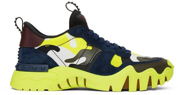Valentino Garavani Black & Green Valentino Garavani Rockrunner Plus Sneakers