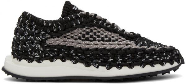 Valentino Garavani Black & Grey Crochet Sneakers