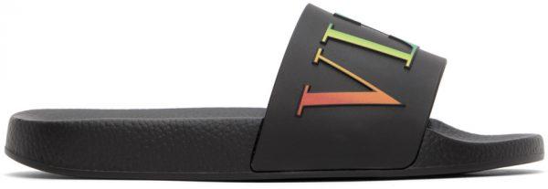 Valentino Garavani Black & Multicolor Valentino Garavani 'VLTN' Slides