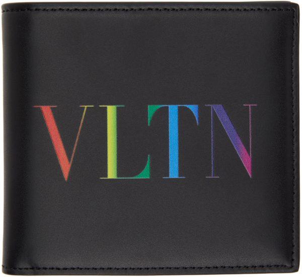 Valentino Garavani Black & Multicolor Valentino Garavani 'VLTN' Wallet