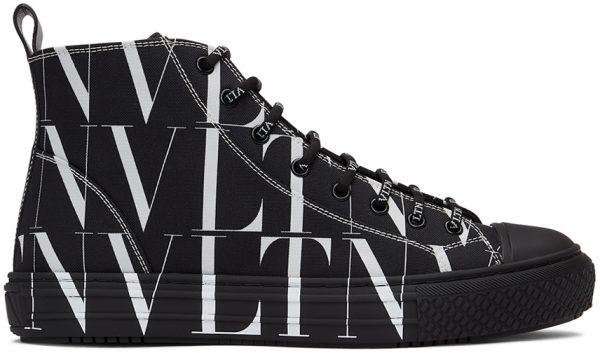 Valentino Garavani Black & White All Over 'VLTN' High Sneakers