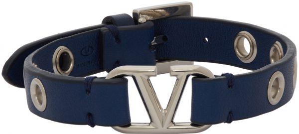 Valentino Garavani Blue Valentino Garavani Calfskin VLogo Eyelet Bracelet