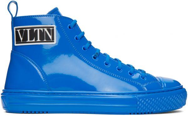Valentino Garavani Blue Valentino Garavani Patent 'VLTN' High-Top Sneakers