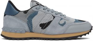 Valentino Garavani Blue & Grey Camo Rockrunner Sneakers