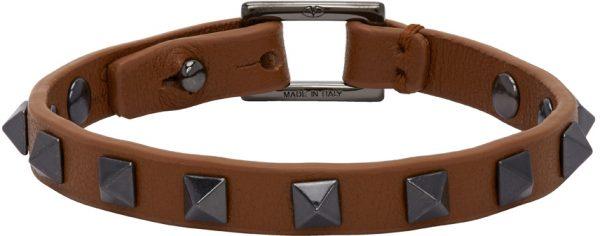Valentino Garavani Brown Valentino Garvani Leather Rockstud Bracelet