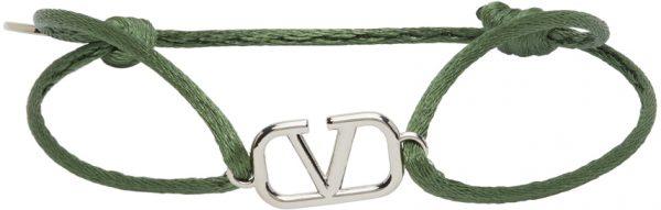 Valentino Garavani Green Cord VLogo Bracelet