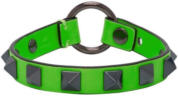 Valentino Garavani Green Valentino Garavani Leather Rockstud Bracelet