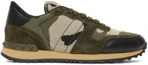 Valentino Garavani Green Valentino Garavani Mesh Camouflage Rockrunner Sneakers