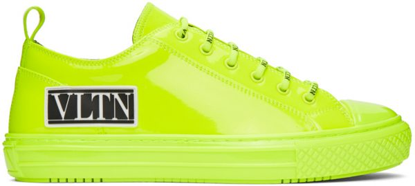 Valentino Garavani Green Valentino Garavani Patent 'VLTN' Giggies Low-Top Sneakers
