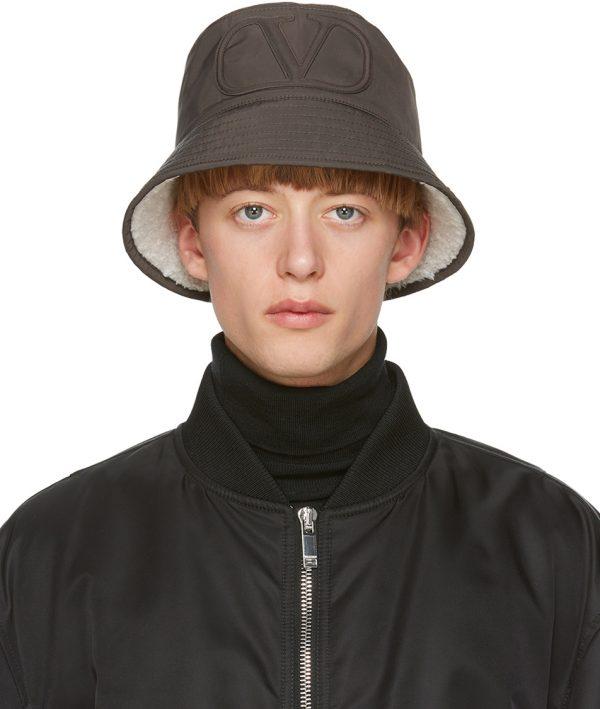 Valentino Garavani Khaki Sherpa VLogo Bucket Hat