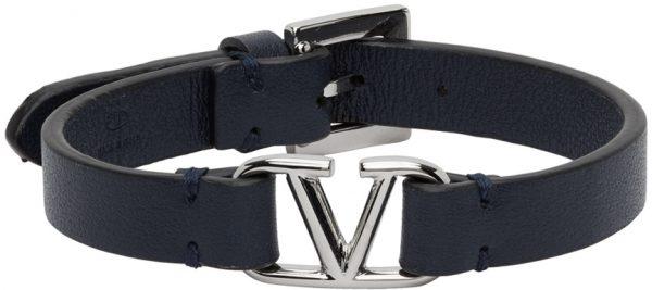 Valentino Garavani Navy Palladium VLogo Bracelet