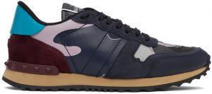 Valentino Garavani Navy & Pink Leather Camo Rockrunner Sneakers