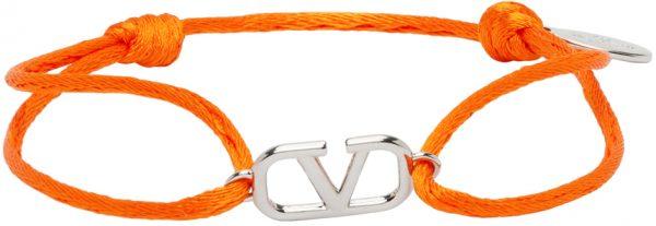 Valentino Garavani Orange Cord VLogo Bracelet