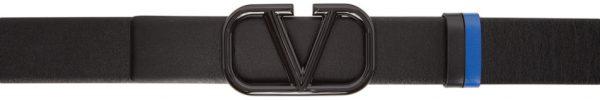 Valentino Garavani Reversible Black & Blue Valentino Garavani Lacquered VLogo Belt