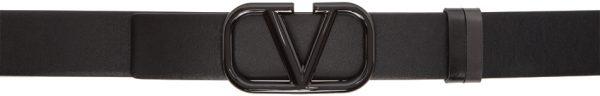 Valentino Garavani Reversible Black & Grey Valentino Garavani Lacquered VLogo Belt