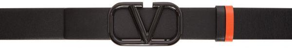 Valentino Garavani Reversible Black & Orange Valentino Garavani Lacquered VLogo Belt