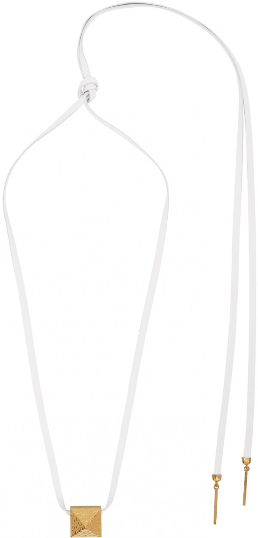 Valentino Garavani White Valentino Garavani Leather Roman Stud Necklace