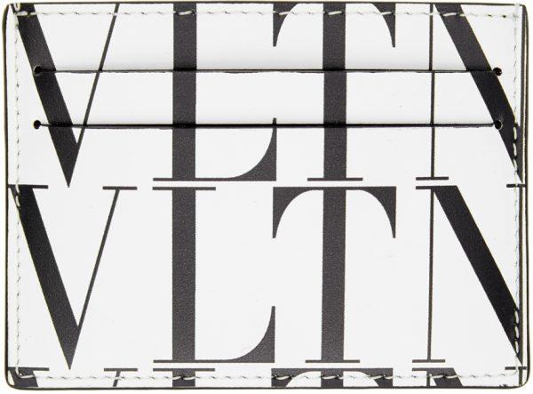 Valentino Garavani White Valentino Garavani 'VLTN' Times Card Holder