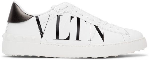 Valentino Garavani White & Black Valentino Garavani 'VLTN' Open Sneakers