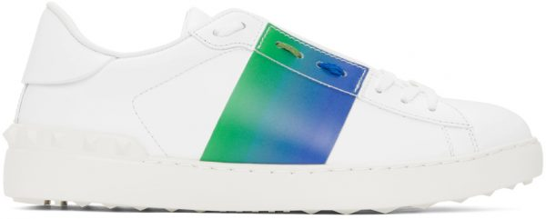 Valentino Garavani White & Blue Valentino Garavani Dégradé Open Sneakers