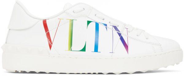 Valentino Garavani White & Multicolor Valentino Garavani 'VLTN' Open Sneakers