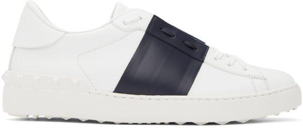 Valentino Garavani White & Navy Valentino Garavani Rockstud Open Sneakers