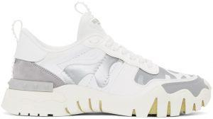 Valentino Garavani White & Silver Valentino Garavani Camo Rockrunner Sneakers
