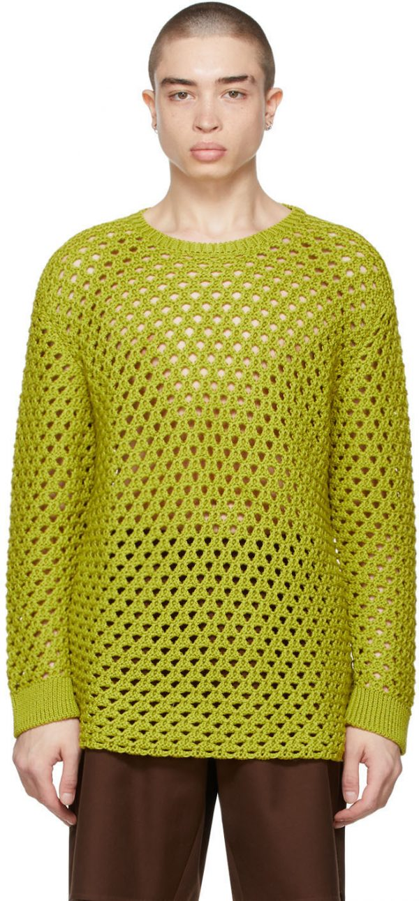 Valentino Green Open Knit Sweater