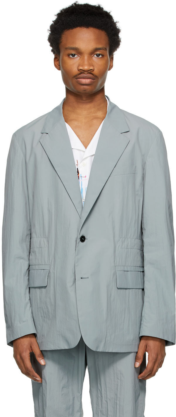 Valentino Grey Nylon Sports Blazer