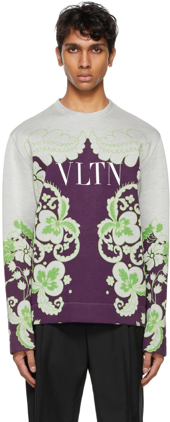 Valentino Grey & Purple Graphic Sweatshirt