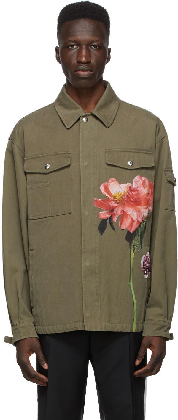 Valentino Khaki Inez & Vinoodh Edition Khaki Denim Floral Jacket