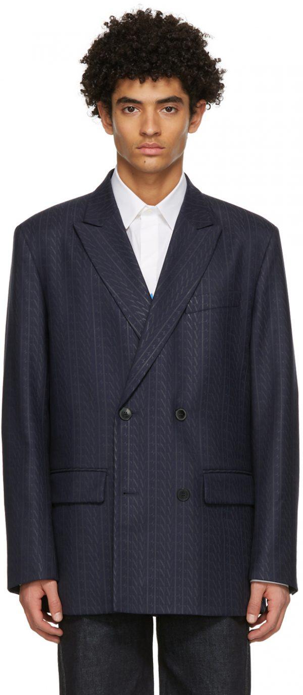Valentino Navy Wool 'VLTN' Times Blazer