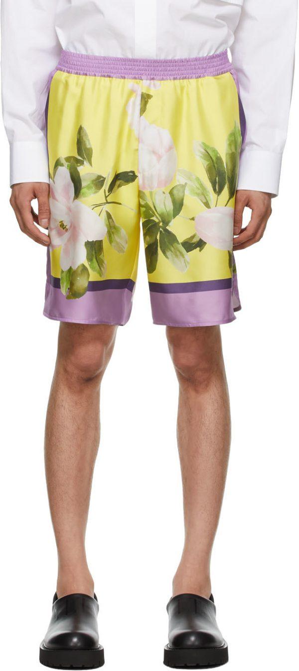 Valentino Purple & Yellow Silk Flying Flowers Bermuda Shorts