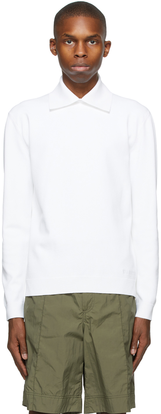 Valentino White Crêpe Long Sleeve Polo