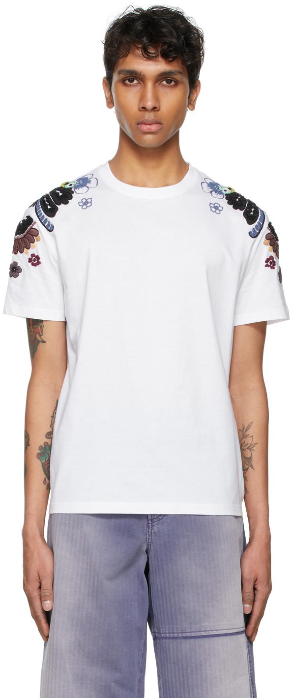 Valentino White Embroidered Flower T-Shirt