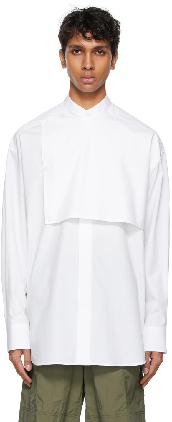 Valentino White Front Plastron Shirt