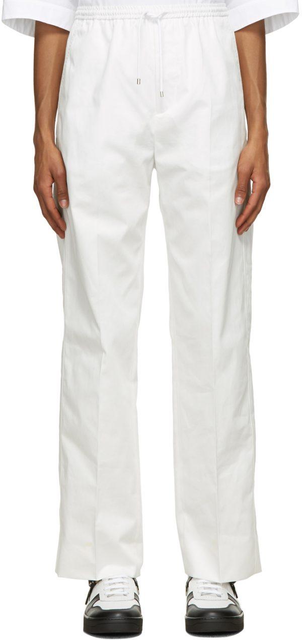 Valentino White Gabardine Drawstring Trousers