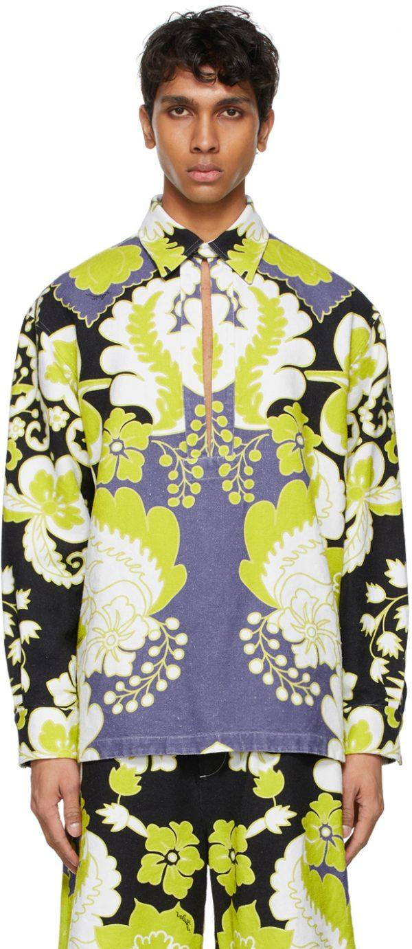 Valentino White Hemp World Arazzo Print Shirt