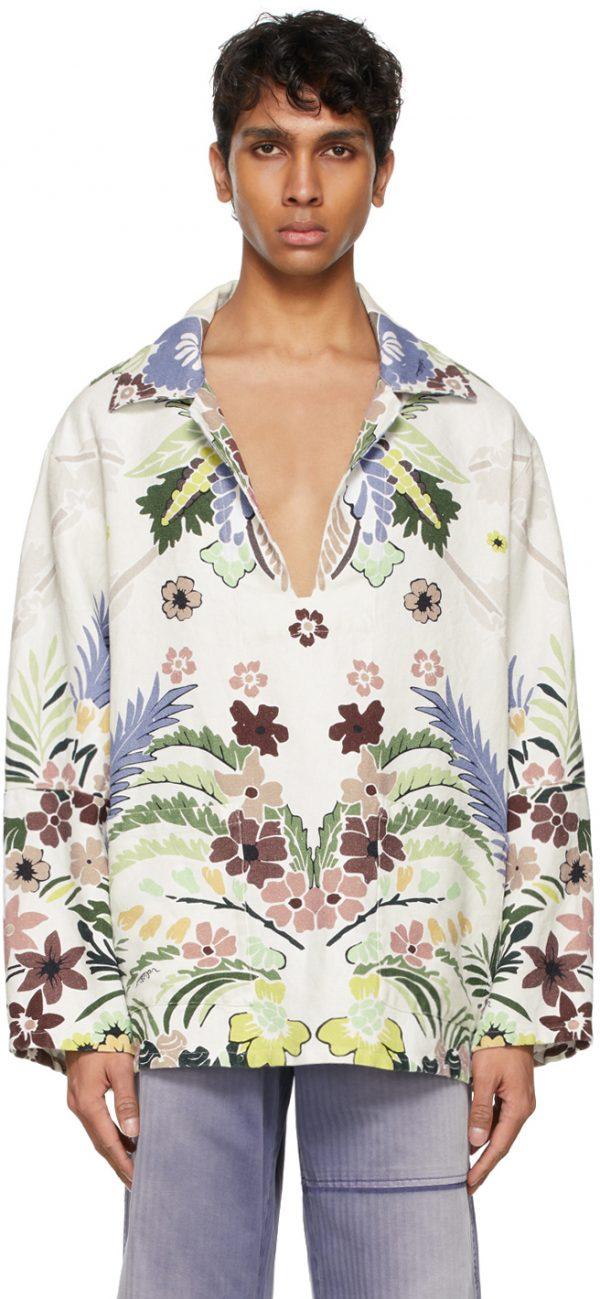 Valentino White Hemp World Arazzo Tropical Print Shirt