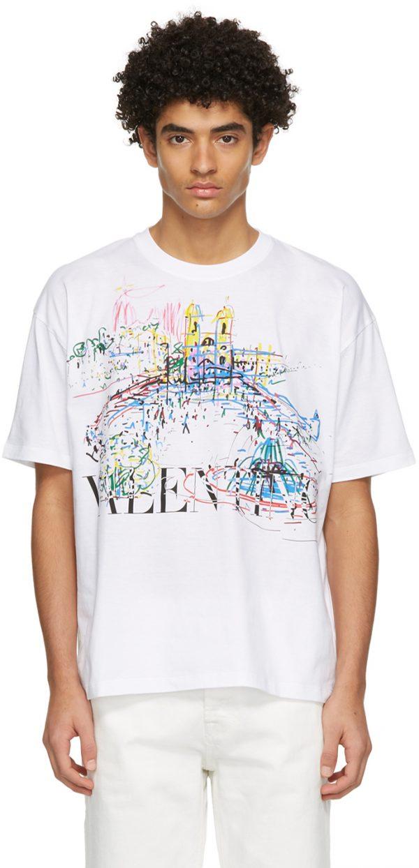 Valentino White Roman Sketches T-Shirt
