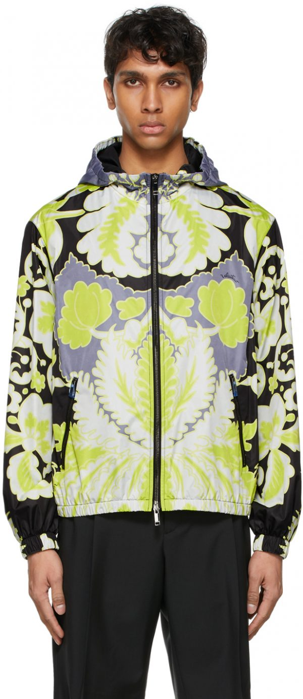 Valentino White World Arazzo Print Windbreaker Jacket