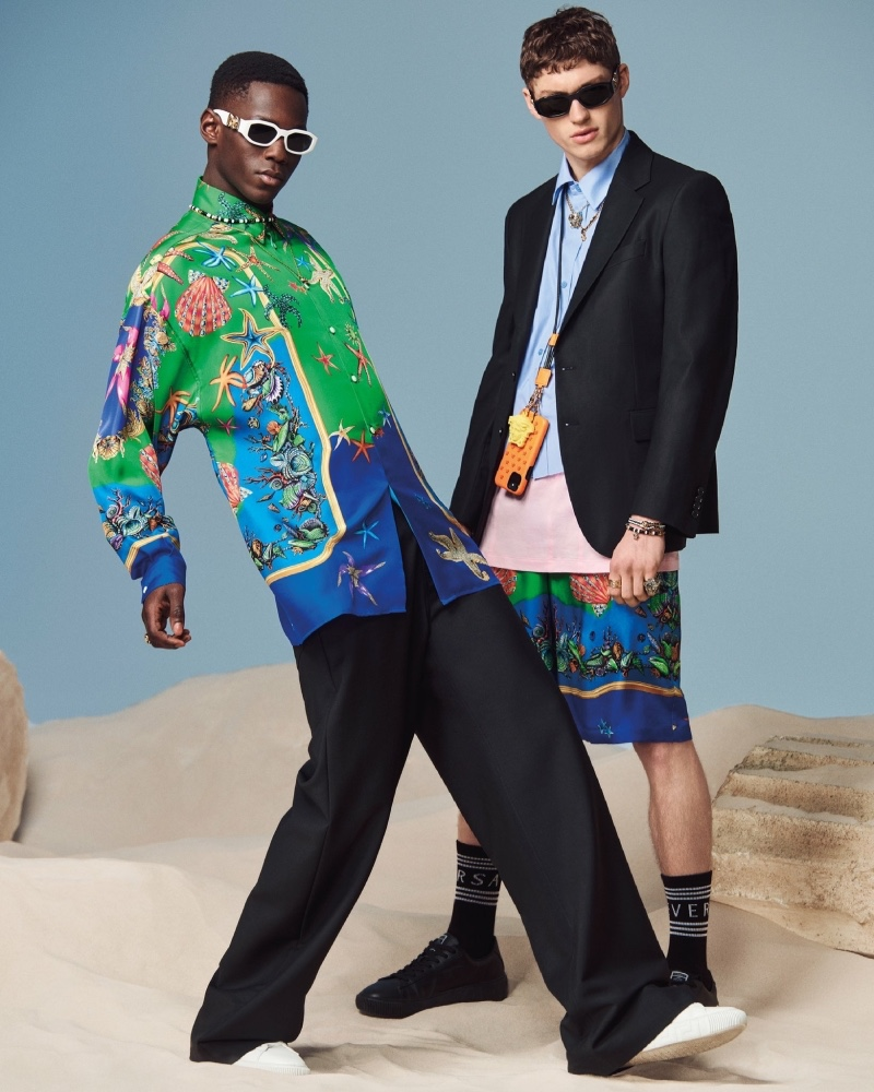 Cheikh Dia and Valentin Humbroich star in Versace's spring-summer 2021 men's accessories campaign.
