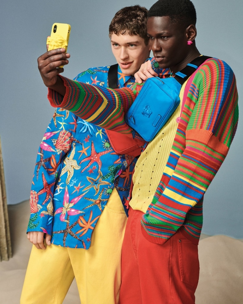 Posing for a selfie, Valentin Humbroich and Cheikh Dia front Versace's spring-summer 2021 men's accessories campaign.