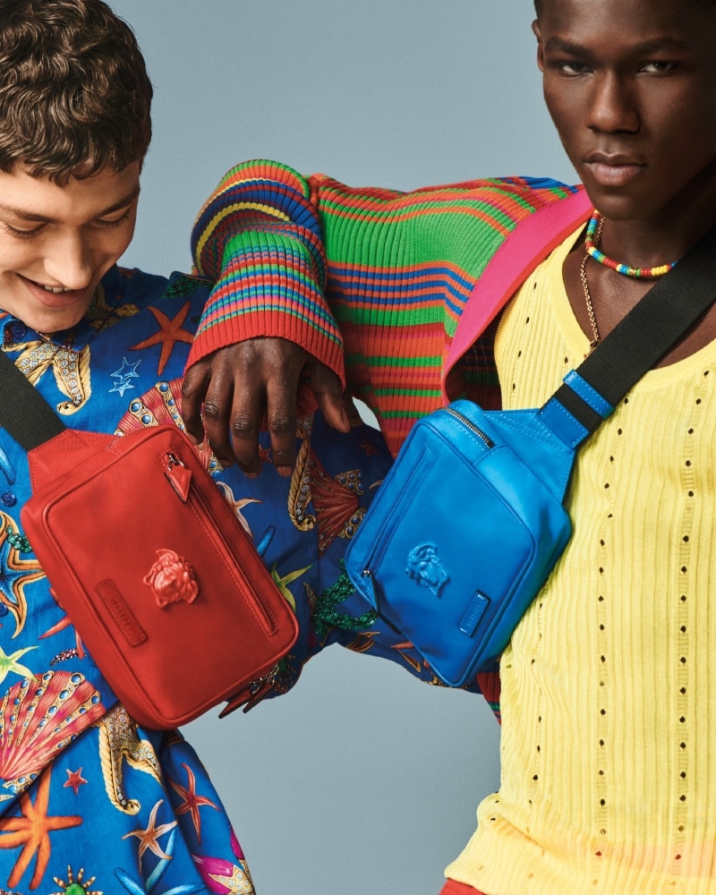 Versace enlists models Valentin Humbroich and Cheikh Dia as the stars of its spring-summer 2021 men's accessories campaign.