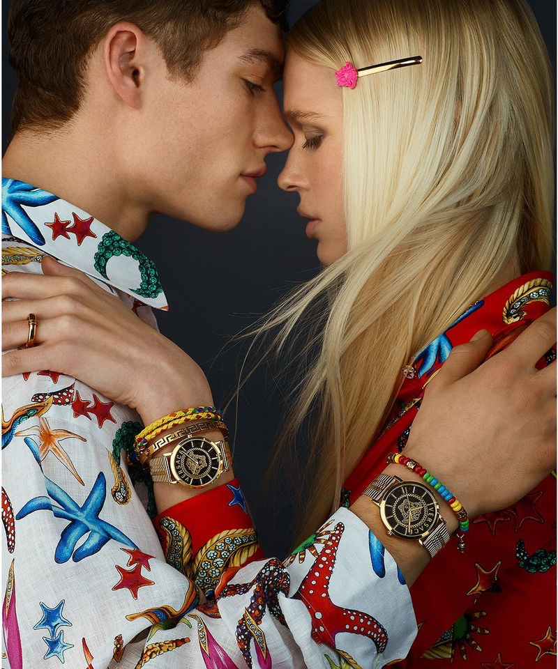 Valentin Humbroich and Fien Kloos couple up for Versace's spring-summer 2021 watches campaign.