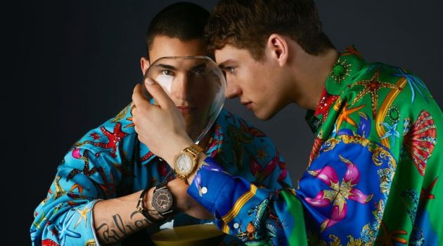 Models Simone Bricchi and Valentin Humbroich star in Versace's spring-summer 2021 watches campaign.