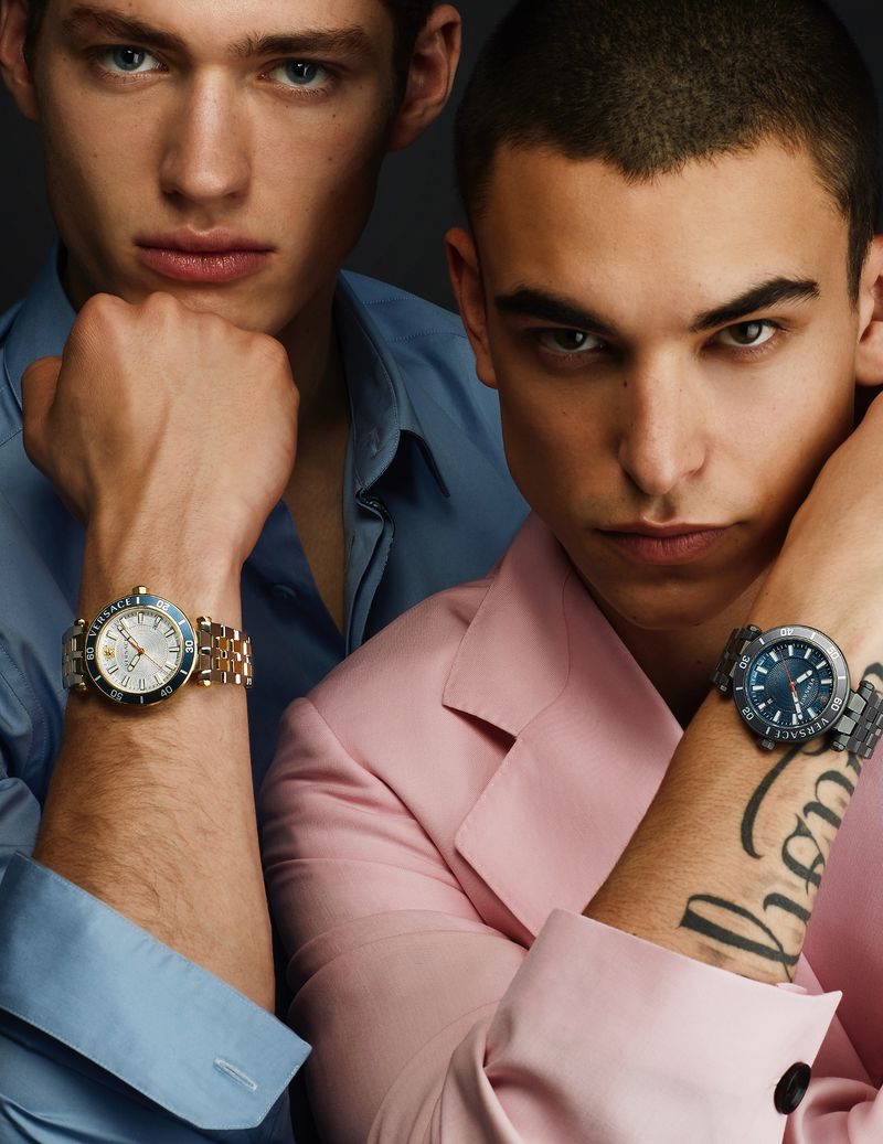 Giovanni Gastel  photographs Valentin Humbroich and Simone Bricchi for Versace's  spring-summer 2021 watches campaign.