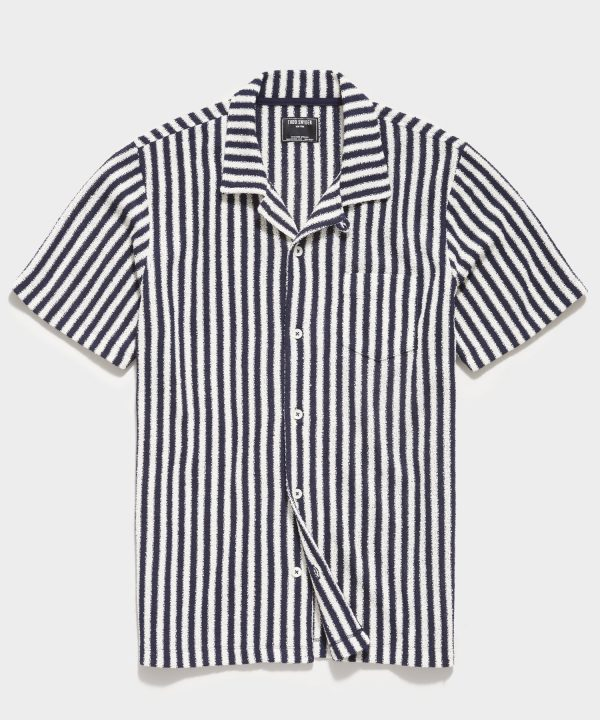 Vertical Stripe Terry Button Down Polo in Navy