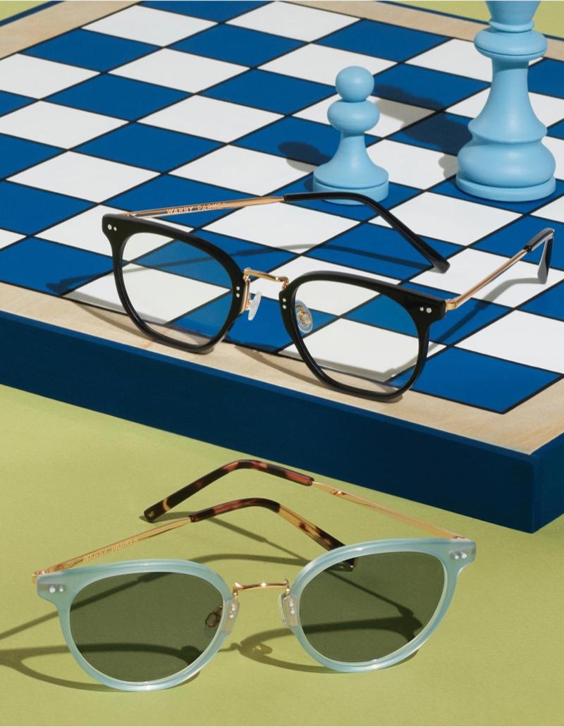 Warby Parker Halton Jet Black with Polished Gold Eyewear and Elina Blue Agave with Polished Gold Sunglasses