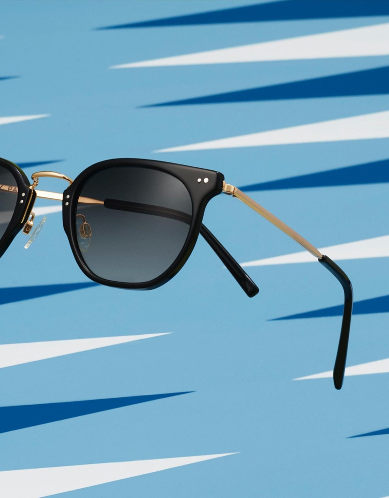 Warby Parker Halton Jet Black with Polished Gold Sunglasses